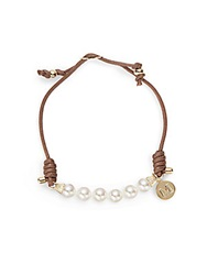 Majorica 6Mm Pearl And Leather Cord Bracelet