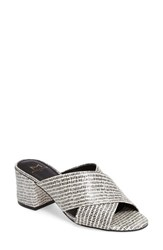 Marc Fisher Women's Ltd Crisscross Slide Black White Print Leather