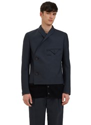 Kolor Wrap Over Knitted Layer Blazer Jacket Navy