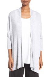 Eileen Fisher Women's Featherweight Ribbed Merino Cardigan Pearl