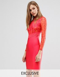 Wow Couture Bandage Lace And Cage Dress Red