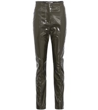 Acne Studios Tugi Vinyl High Waisted Trousers Green