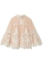 Anna Sui Cupid And Fairy Crocheted Lace Trimmed Cotton Gauze Blouse Beige