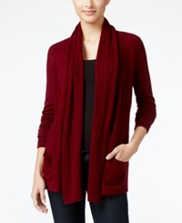 Karen Scott Petite Open Front Cable Knit Cardigan Only At Macy's Jmc Merlot