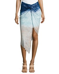 Young Fabulous And Broke Young Fabulous And Broke Kulani Knotted Tie Dye Skirt Navy Watercolor