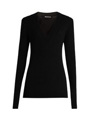 Rochas Wool Cashmere Blend Long Sleeved Sweater Black