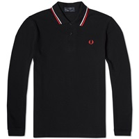 Fred Perry Long Sleeve Original Twin Tipped Polo Black White And Red