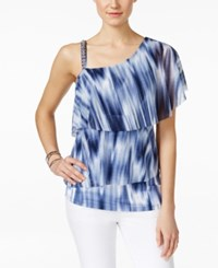Inc International Concepts One Shoulder Ruffle Top Only At Macy's Ikat Water