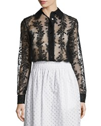 Carven Long Sleeve Sheer Floral Organza Blouse Black Women's