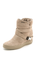 Dkny Catherine Shearling Wedge Booties Dark Mocha