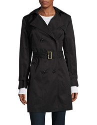 Cole Haan Double Breasted Hood Trench Coat Black