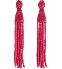 Oscar De La Renta Long Beaded Tassel Clip On Earrings Tourmaline