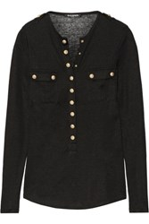Balmain Slub Linen Blend Jersey Top Black