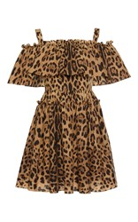Dolce And Gabbana Off The Shoulder Leopard Print Dress