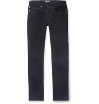 Tom Ford Charcoal Slim Fit Cotton Blend Corduroy Trousers Blue