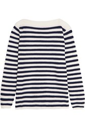 See By Chloe Mesh Paneled Striped Cotton Blend Sweater Blue