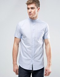 Brave Soul Oxford Grandad Short Sleeve Shirt With Pocket Blue