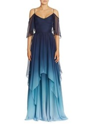 Theia Cold Shoulder Ombre Chiffon Gown Navy Ombre