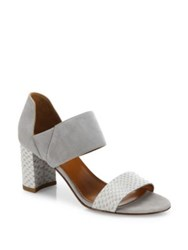 Aquatalia By Marvin K Suzanne Suede And Snake Embossed Leather Block Heel Sandals