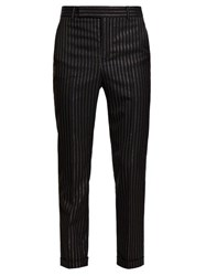Saint Laurent Metallic Pinstripe Wool Blend Twill Trousers Black Gold