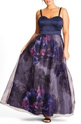City Chic Plus Size Women's Majestic Floral Ballgown Skirt Navy
