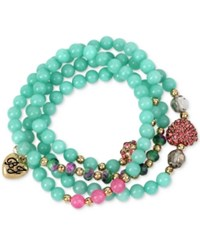 Betsey Johnson Gold Tone Blue And Pink Beaded Pave Heart And Fireball Stretch Wrap Bracelet