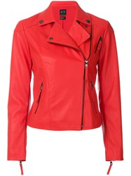 Armani Exchange Fitted Cropped Biker Jacket Red