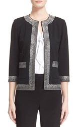 Women's St. John Collection Crystal Embellished Milano Knit Jacket Caviar Crystal