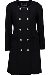Goen J Pleated Wool And Cashmere Blend Coat Midnight Blue