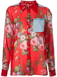 Brognano Floral Print Semi Sheer Shirt Women Cotton Polyester 40 Red