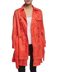 Red Valentino Long Sleeve Double Breasted Trench Coat Papaya Orange Women's