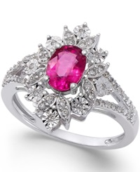 Macy's Ruby 1 Ct. T.W. And Diamond 1 5 Ct. T.W. Split Shank Ring In 14K White Gold Red