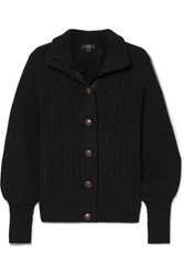 J.Crew Cable Knit Wool Blend Cardigan Black