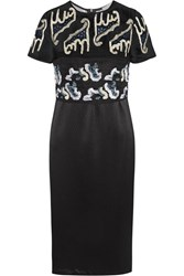 Michael Van Der Ham Becca Embellished Silk Organza And Silk Cloque Dress Black