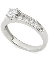 Macy's Diamond Channel Set Engagement Ring 1 Ct. T.W. In 14K White Gold