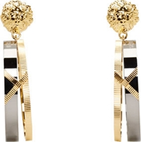 Versus Gold And Gunmetal Hanging Hoop Anthony Vaccarello Edition Earrings