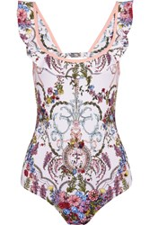 Fendi Ruffled Cutout Floral Print Swimsuit Blush