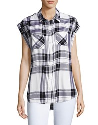 Beach Lunch Lounge Plaid Button Front Shirt Black White