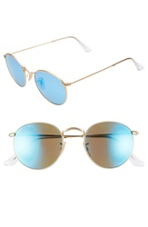 Ray Ban 50Mm Round Polarized Sunglasses Gold Blue Mirror