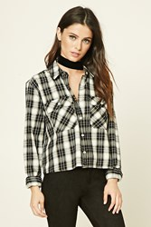 Forever 21 Tartan Plaid Cotton Shirt Black Cream