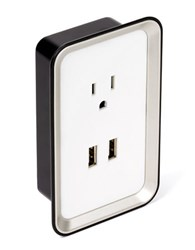 Sharper Image Plate Power Usb Wall Plate Charger White