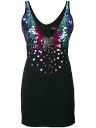 Dsquared2 Star Sequin Embellished Mini Dress Women Polyester Spandex Elastane Acetate Glass 40 Black