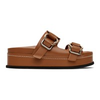 3.1 Phillip Lim Tan Freida Double Buckle Platform Sandals