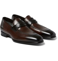 Tom Ford Burnished Leather Penny Loafers