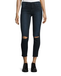Frame Le High Ripped Skinny Jeans Blue