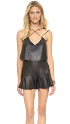 Shakuhachi Strappy Leather Crop Top Black