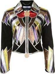 Givenchy Zipped Patchwork Cropped Jacket Black