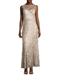 Js Collections Sequined And Embroidered Gown Gold