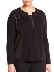Marina Rinaldi Plus Size Wool And Silk Lace Detail Twinset Cardigan Black Metallic