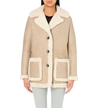 Maje Button Up Shearling Coat Beige